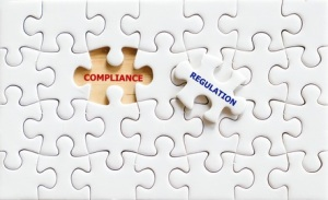 Compliance and Regulation words puzzle piece,business concept